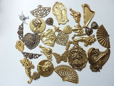 Victorian style brass stampings  from the early 90s  1//4LB lot crafts decor