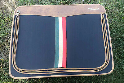 """Vintage Monarch Suitcase/Luggage-Italian Flag Navy Fabric/Faux Leather 29"""" x 21"""