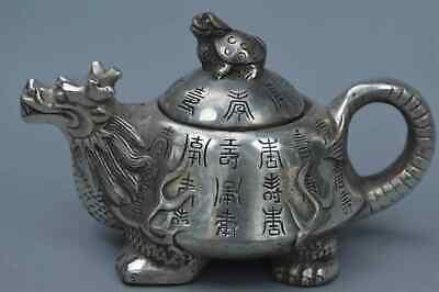 China Collectable Handwork Miao Silver Carve Dragon Tortoise Auspicious Tea Pot