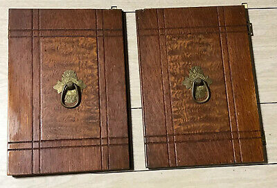 Antique Singer Treadle Sewing Machine Parlor Drop Cabinet FRONT DOORS w/PULLS