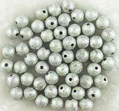 150Pcs 6mm Silver Acrylic Stardust Metallic Glitter Spacer Loose Beads
