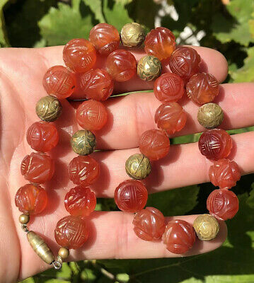 Vintage Old Chinese Hand Carved Carnelian Large 11.5mm Shou Bead Necklace
