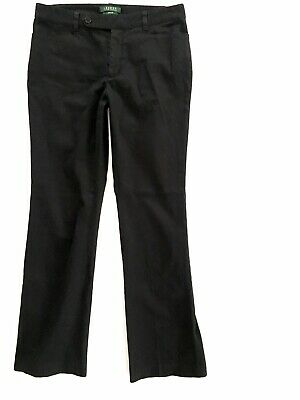 Lauren Ralph Lauren Adelle Size 8 Pants Black Straight Leg Stretch