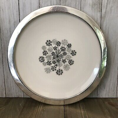 "Vintage SHREVE & Co. FLINTRIDGE CHINA Queen Ann's Lace 9.5"" PLATE w STERLING Rim"