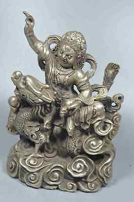 China Collectable Handwork Miao SIlver Carve Dragon Man Ride Dragon Noble Statue