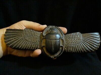 Rare Antique Ancient Egyptian Winged Scarab Beetle Khepri Good Luck 1760-1640BC