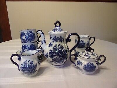 Cobalt Blue & White Ironstone Tea Set Teapot Creamer Sugar & Lid 4 Cups & Saucer