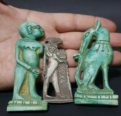ANCIENT EGYPTIAN ANTIQUES Rare 3 Amulets Horus Protection Cobra Wadjet Stone BC