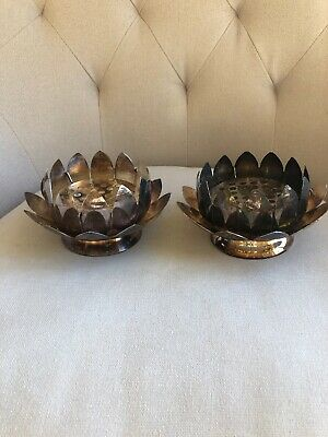 TWO Vtg 3-pc Flower Frog Leonard Silver Plate Lotus Water Lily Bowl Centerpiece