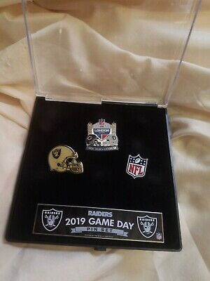 NFL Official Oakland Raiders Game Day Pin Set vs Chicago Bears London 10/6/2019