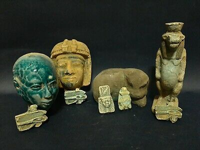 Rare Collection ANCIENT EGYPTIAN ANTIQUES 9 AMULETS Statues Figure 300 BC