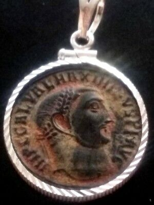 Maximinus II Large AE2 Red Sand Ancient Roman Coin Sterling Silver Bezel Pendant