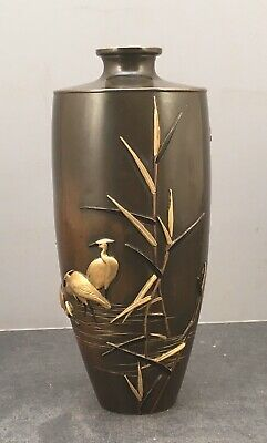 Japanese Meiji Tokyo School Bronze Vase with Mix-Metal Inlays