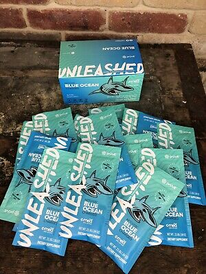 Pruvit Keto OS Blue Ocean UNLEASHED Amped Max Ketones 5 Packet Charged Caffeine
