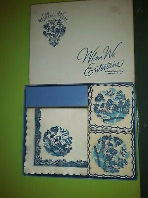1950's  60s Vintage Bue Willow Hostess Set Paper Napkins &  Coasters in Box