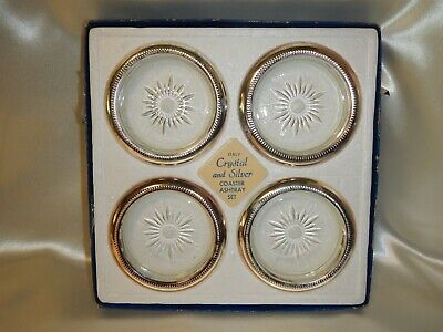 Leonard 4 Crystal N Silver Plated Coasters Made In Italy