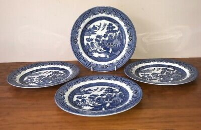 Churchill Blue Willow Dinner Plates X 4 Made In England (LN)