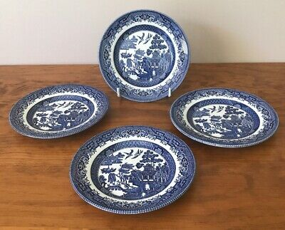 Churchill Blue Willow Side Plates X 4 Made In England (LN)