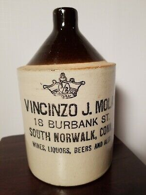 Antique Vincinzo J. Mola Pottery Jug Whiskey Jug