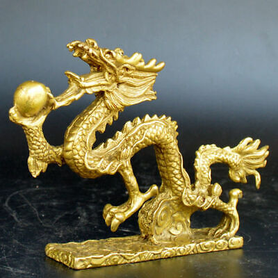 Chinese old collection handwork brass Zodiac Loong base statue