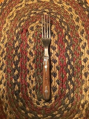 Antique Primitive Steel 4 Prong Fork Riveted Wood Handle Civil War Era