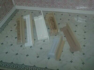 WOOD Wall SHELVES  Lot 6 Dollhouse Miniature natural & white shelving / shelf c