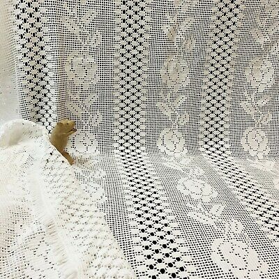 White Heavy-weight Cotton Rose Pattern Lace Tablecloth 190 x 150cm, Fringed