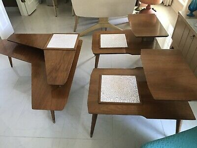Mid Century Modern Double Tiered Boomerang Coffee Table And Matching End Tables