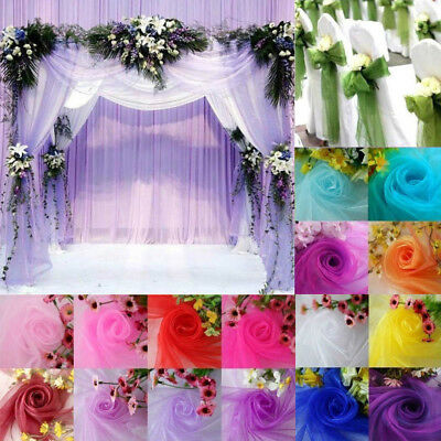 5/10m*1.35m Top Table Swags Sheer Organza DIY Wedding Party Bow Decorations
