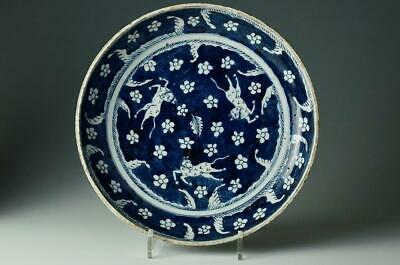 Chinese Old Blue and White Plate / W 29[cm] Antique Vintage Bowl Dish Pot Qing