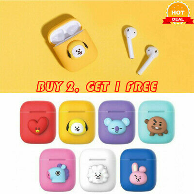 AirPods BTS Cute Cartoon Design Silicone Case Cover Protective for Apple Airpod