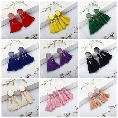 Women Bohemian Long Tassel Fringe Boho Drop Dangle Ear Stud Earrings Jewelry NEW