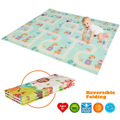 Foldable Play Mat Large Tummy Time Folding Reversible Baby Mats For Playroom