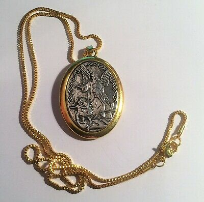 Catholic Archangel Michael Protection Pendant, Two Tone Silver and Gold Plated.