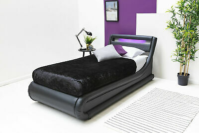 LED Lights Headboard Black Faux Leather Lift Up Ottoman Single Storage Bed