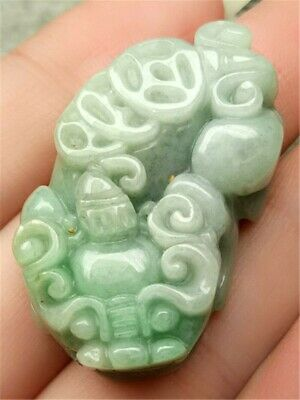 Certified Lavender Green Natural A Jade Jadeite Hand-Carved Pendant Pi Xiu Coin