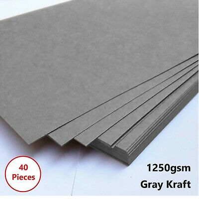 40 x A4 Gray 1250gsm Cardboard Chipboard Boxboard 2mm Recycled Card Packaging