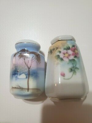 Pair 1920's  Antique Art Salt and Pepper Shakers Hand Painted Japan Nippon ? VTG