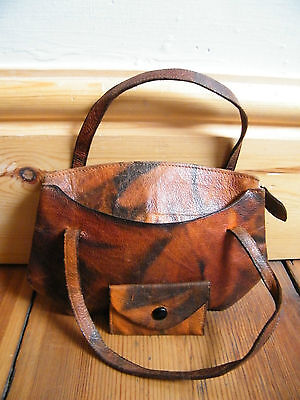 Vintage collectable marbled leather mini handbag 1920 1930 1940 Deco bag childs?