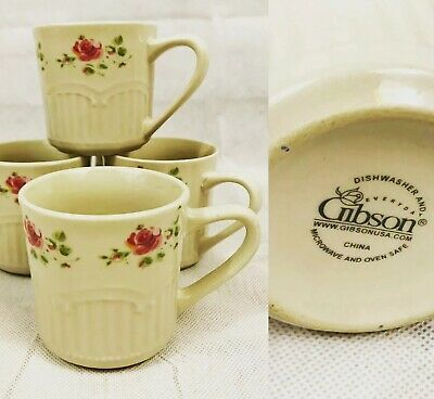 Gibson Everyday China Dinnerware Coffee Tea Cups Mugs With Pink Flowers