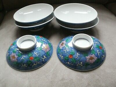 japanese porcelain footed rice sushi dish plate set of 6