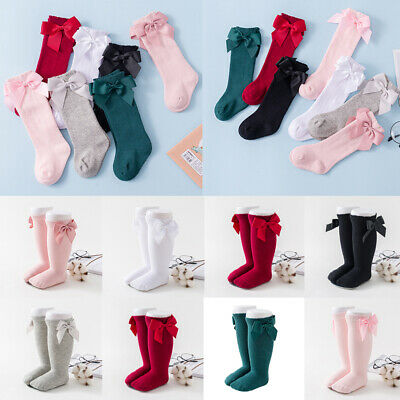 CUTE GIRLS Stockings COTTON KNEE HIGH KIDS SCHOOL SOCKS WITH BOW SIZE PANTYHOSE