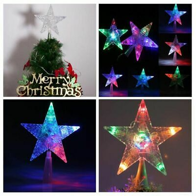 1x Colour Changing LED Light Up Star Christmas Tree Topper Xmas Decoration