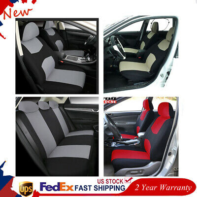 1 Set 4 Colors Polyester Universal Auto Car Seat Covers w/5* Headrest/25 hooks