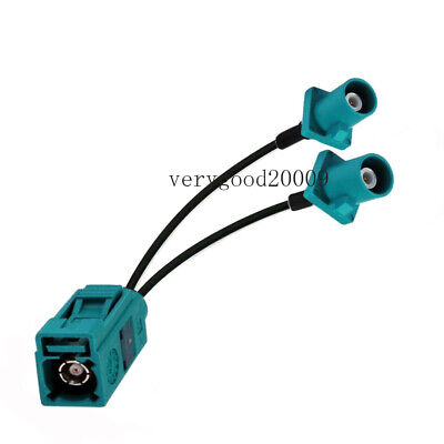 Fakra Z Female to 2 Fakra Z SMB male RG174 Y Splitter Extension Cable 50cm