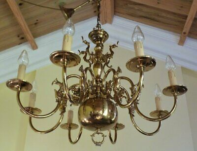 Stunning Large Vintage Brass Flemish Chandelier Ceiling Light French Chic 8 arm