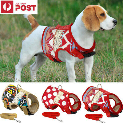 Soft Printed Dog Harness Leash Pet Puppy Cat Vest Jacket Small Medium Large Dogs