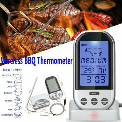 LCD Remote Wireless Thermometer for BBQ Grill Meat Kitchen Oven Food Cooking