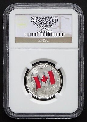 2015 Canada: $25 50th Anniversary Canadian Flag, Colorized, NGC SP69