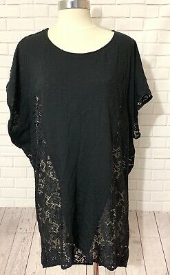 Victorias Secret Lace Cover-Up Top Black Short Sleeves Tunic Length Burn-Out XS